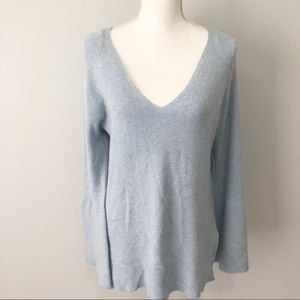J.Crew baby blue v neck bell sleeve wool sweater L